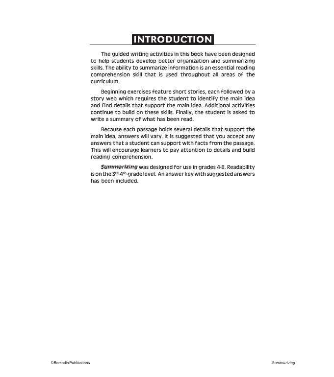 comprehension skills in readingunit 10 summarizing pdf
