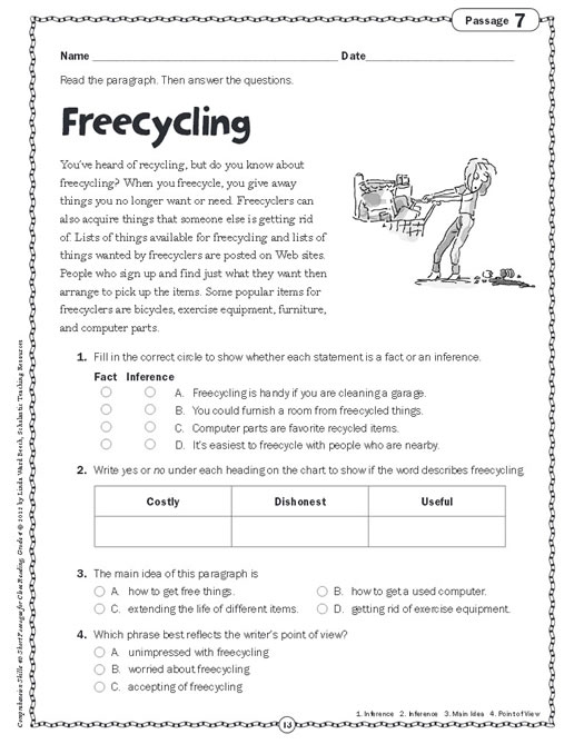 English comprehension worksheets for grade 4 pdf