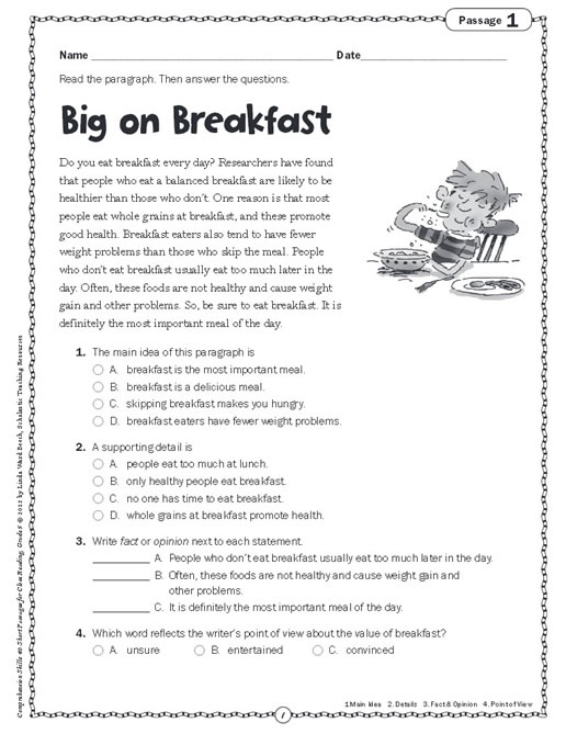 ... Comprehension Skills: Short Passages for Close Reading Grade 5