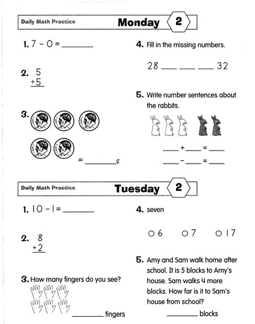 Worksheets Math Quiz Grade 2 math practice grade 2 reocurent daily 2
