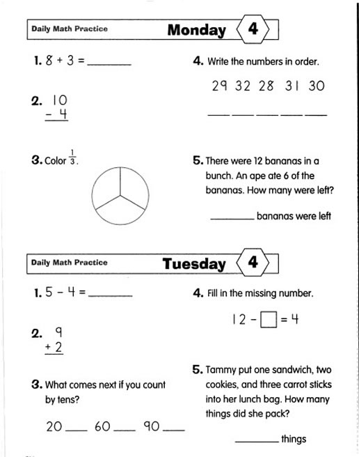 Worksheets Math Quiz Grade 2 daily math practice grade 2 preview page 11