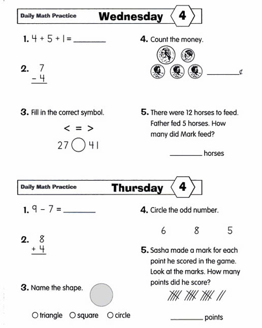 Worksheets Math Quiz Grade 2 daily math practice grade 2 preview page 12
