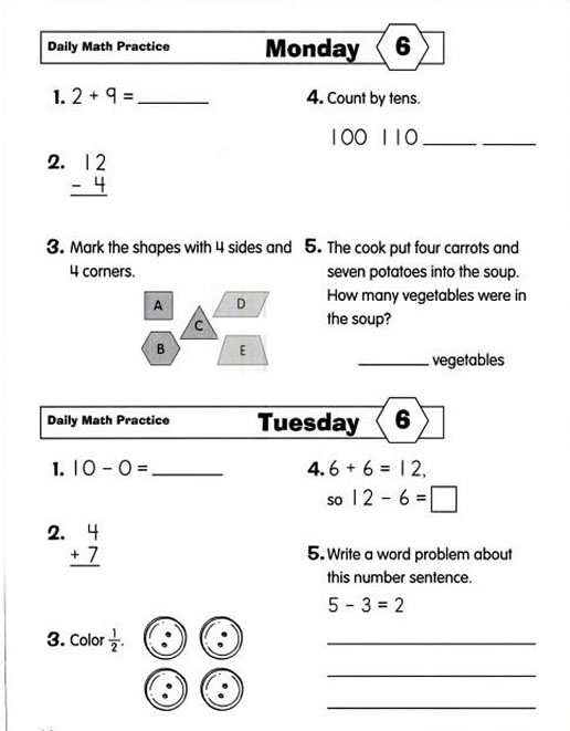 Printables Daily Math Practice Worksheets daily math practice worksheets davezan davezan