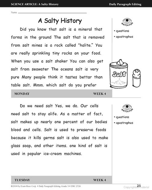 Paragraphs for editing