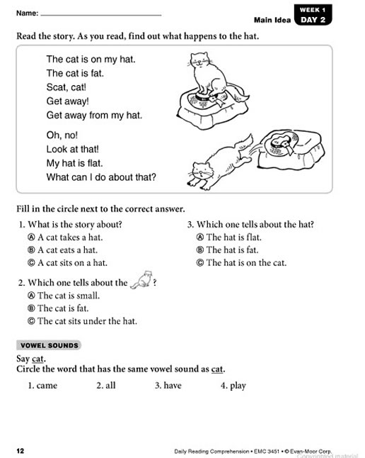 Worksheets Grade 1 Reading Sheets daily reading comprehension grade 1 preview page 11