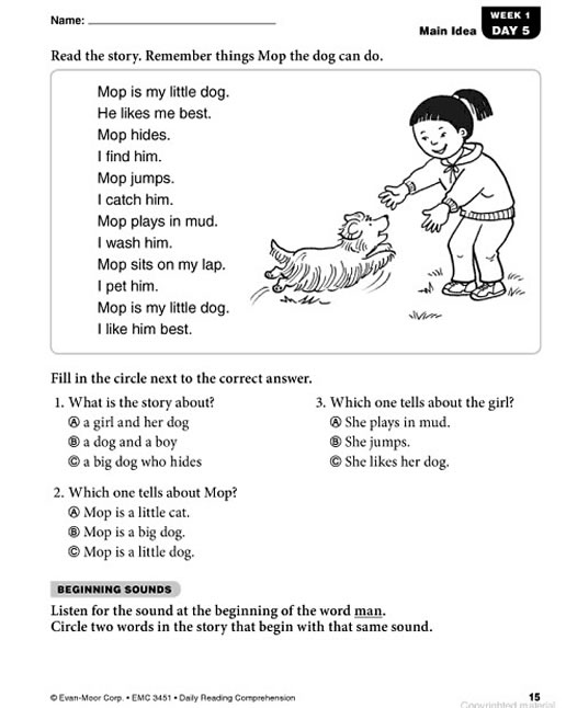 Worksheets Reading Comprehension Grade 1 daily reading comprehension grade 1 preview page 14