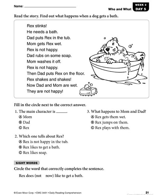 Worksheets Grade 1 Reading Sheets daily reading comprehension grade 1 preview page 20