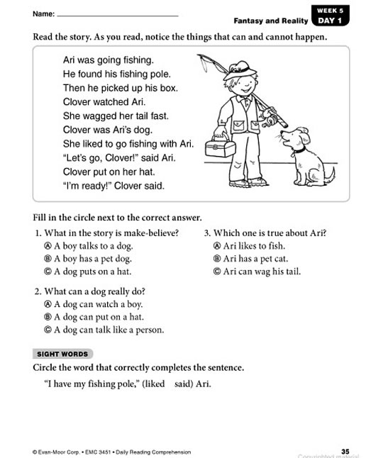 Worksheets Grade 1 Reading Sheets daily reading comprehension grade 1 preview page 34