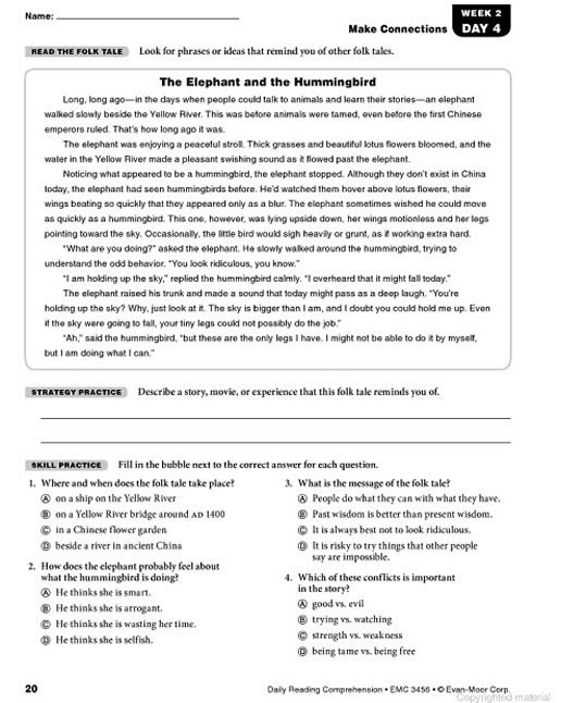 Reading comprehension worksheets for grade 6 free