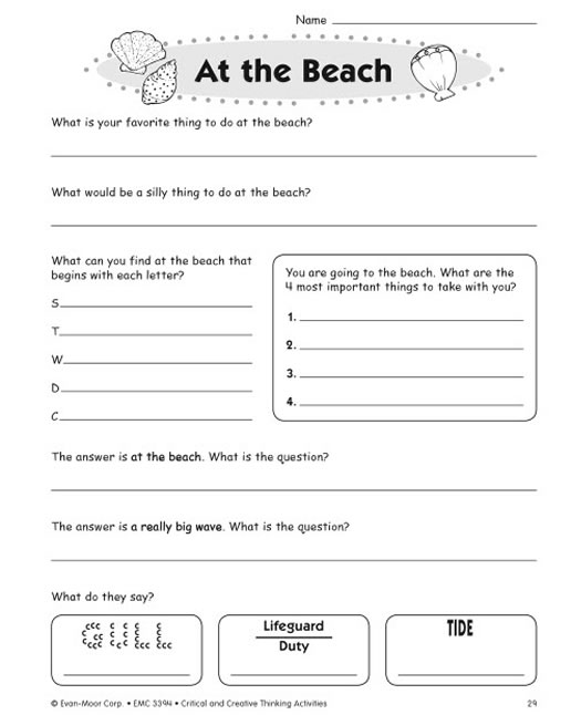 Critical and creative thinking activities grade 4 Term paper