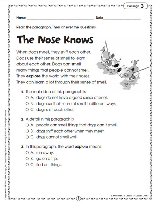 Worksheets Short Stories For Grade 1 comprehension skills short passages for close reading grade 1 preview page 6