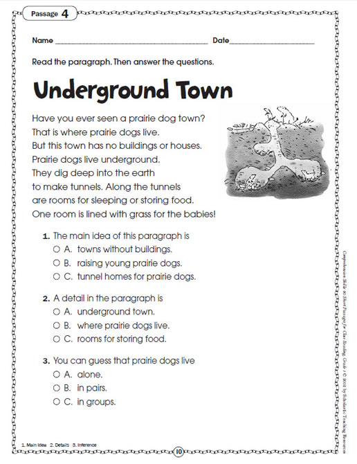 Worksheets Comprehension Passages For Grade 1 comprehension skills short passages for close reading grade 1 preview page 7