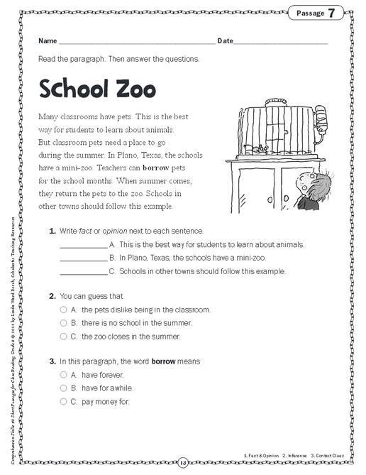 Worksheets Short Comprehension Passages For Grade 4 reading grade 2 ...