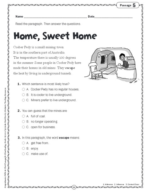 Free reading comprehension worksheets second graders