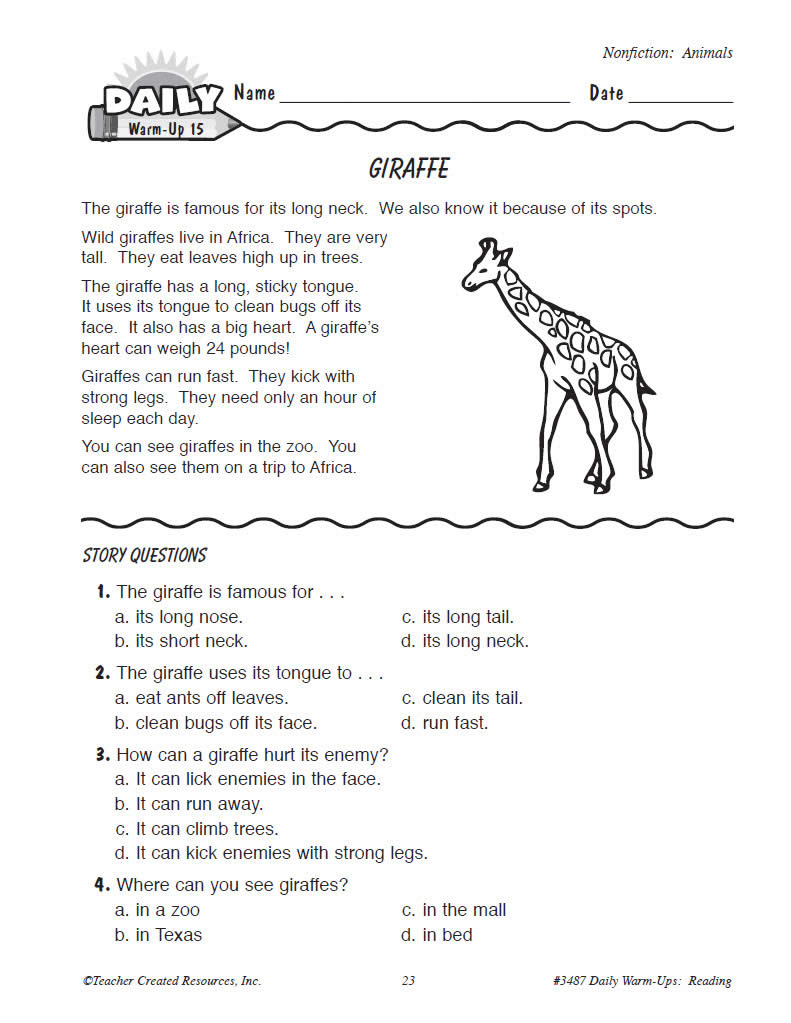 Worksheet 1 Grade Reading daily warm ups reading grade 1 preview page 3