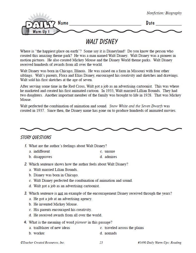 Worksheet Grade 4 Reading daily warm ups reading grade 4 preview page 3