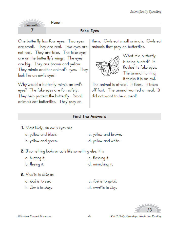 Daily Warm Ups Nonfiction Reading Grade 4 - Www imagez co