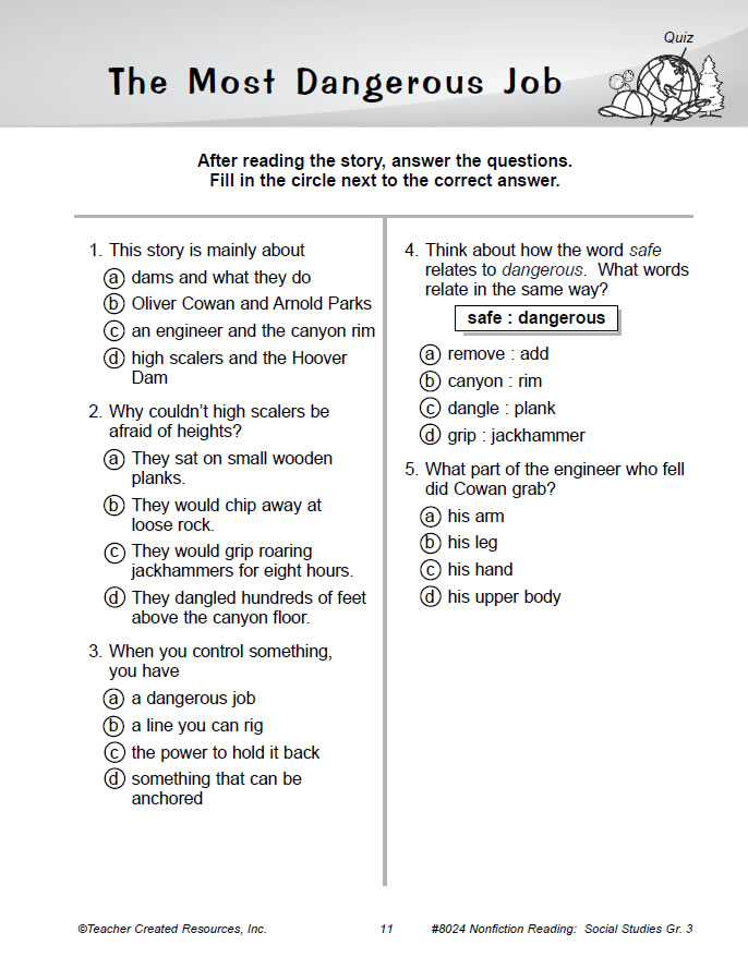 Nonfiction Reading Comprehension: Social Studies Gr 3