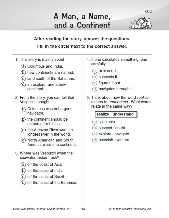 document-based questions for reading comprehension and critical thinking For reading comprehension and critical thinking uses high-interest grade-level nonfiction passages, related documents, and critical thinking related document, and an assessment practice page containing multiple choice, true/false - explain, and short-answer document-based questions.