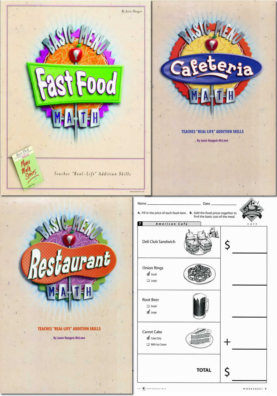 math worksheet : basic menu math : Menu Math Worksheet