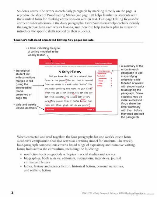 daily paragraph editing grade 3 Emc2726 - daily paragraph editing has everything you need for standards-based daily practice in language arts skills each weekly lesson includes a 4-paragraph composition for students to.