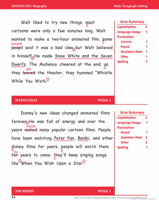 daily paragraph editing grade 3 Daily paragraph editing 4th - 5th in this proofreading and editing instructional activity, students read and correct errors in one paragraph each day of the week from monday to thursday.