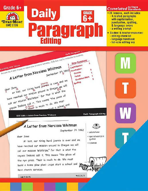 daily paragraph editing grade 6 Daily practice books perfect supplements to your core curriculum daily language review  grade 6 emc 2762-pro daily paragraph editing 176 reproducible pages.
