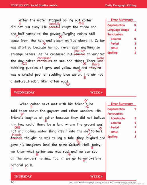 Daily Paragraph Editing Grade 6