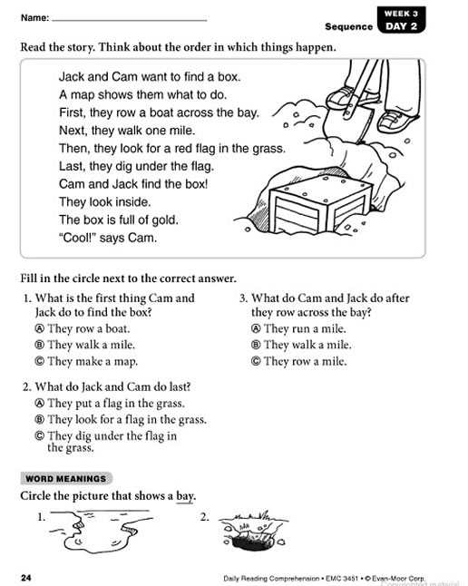 Reading Worksheets Grade 2 : Daily reading comprehension grade