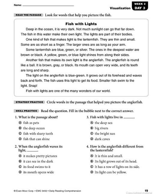 Reading Worksheets Grade 2 : Daily reading comprehension grade