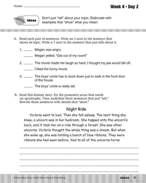 daily 6 trait writing grade 8 pdf