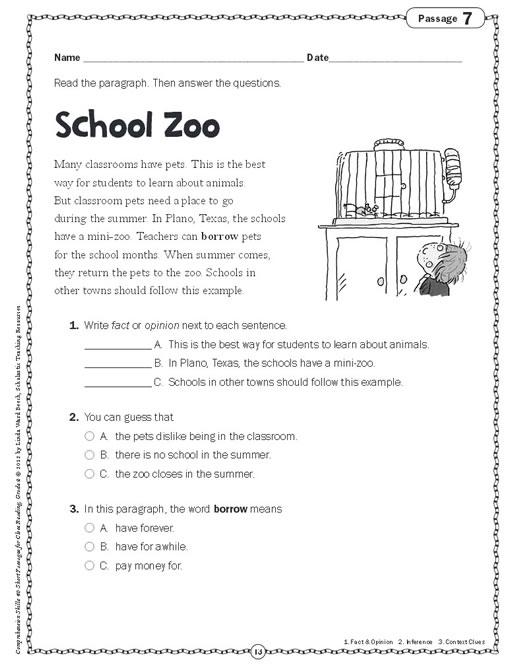 Reading Worksheets Grade 2 : Comprehension skills short passages for close reading grade