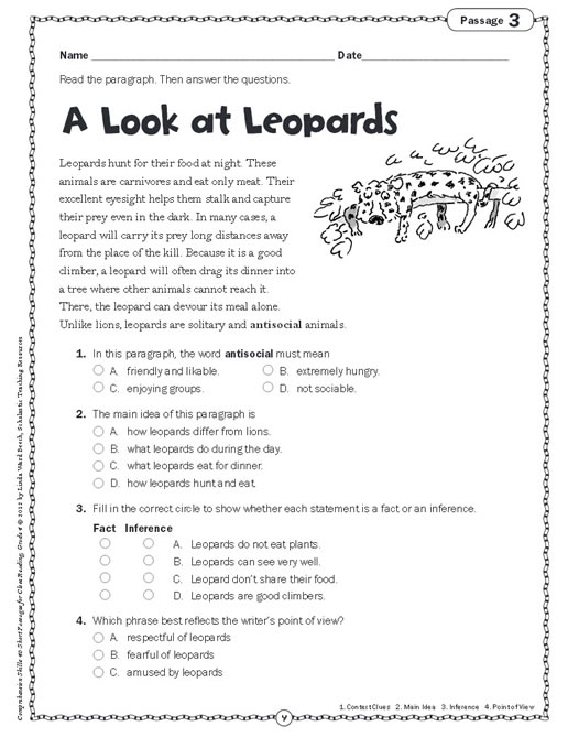 reading comprehension worksheets 5th grade free