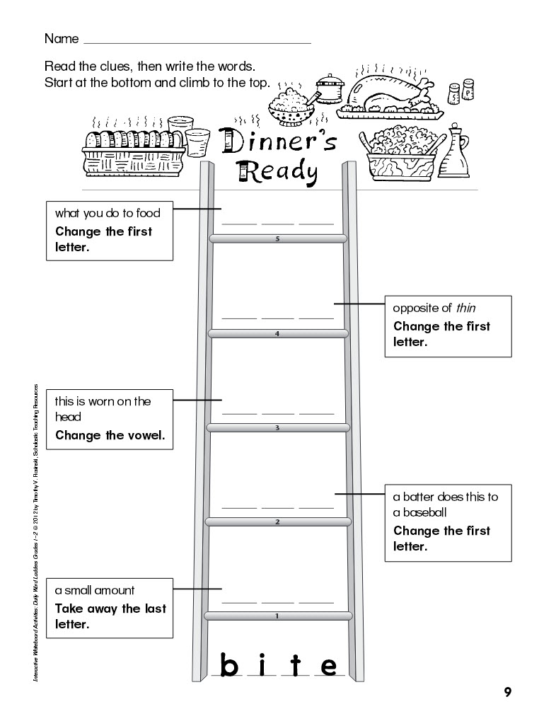 Daily Word Ladders for Interactive Whiteboards Grades 1-2