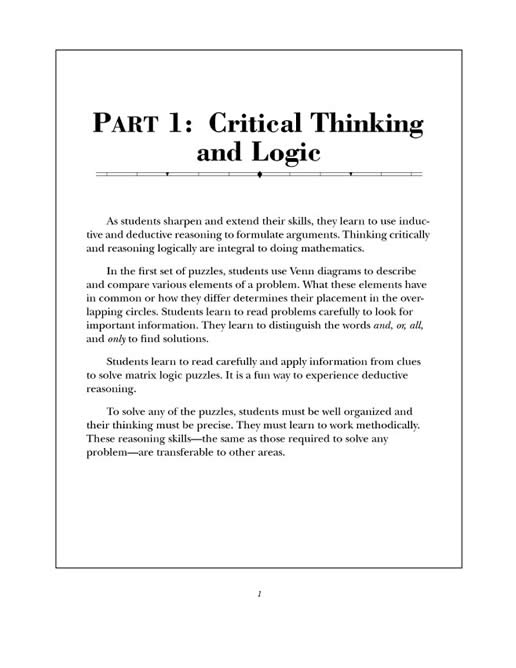 10 minute critical thinking activities for math Find research-based critical thinking activities for children at evan-moorcom help children learn with our selection of thinking and math problems.