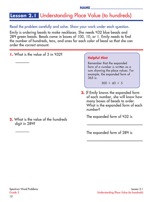 Spectrum Word Problems Grade 3