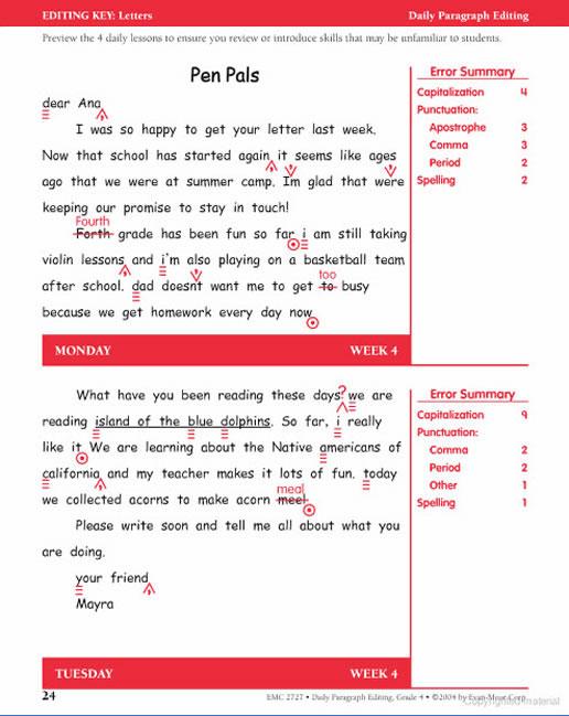 Daily Paragraph Editing Grade 4