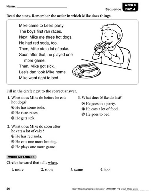 Daily Reading Prehension Grade 1. Preview Page 25. Worksheet. Reading Prehension Worksheet Year 1 At Mspartners.co