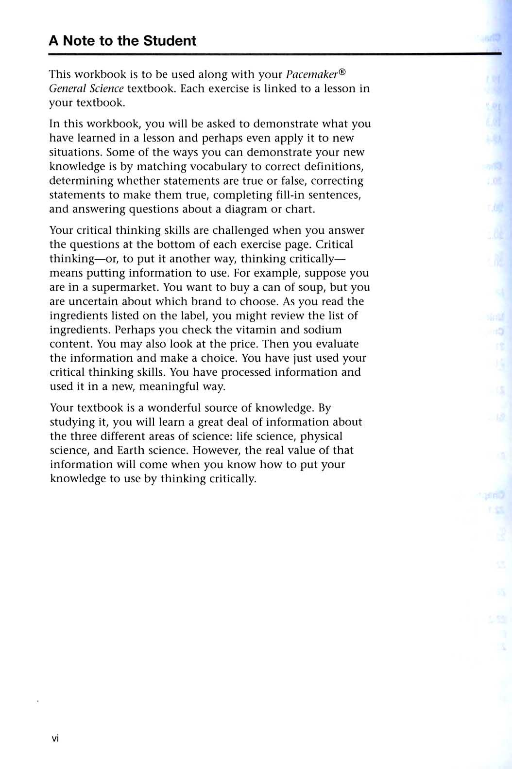 Pacemaker General Science Student Workbook