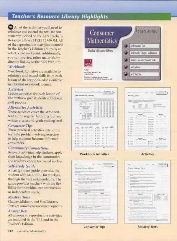 Consumer Mathematics Teacher\'s Resource Library CD-ROM