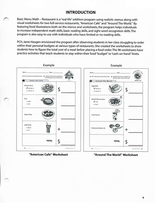 Restaurant Basic Menu Math – Menu Math Worksheet