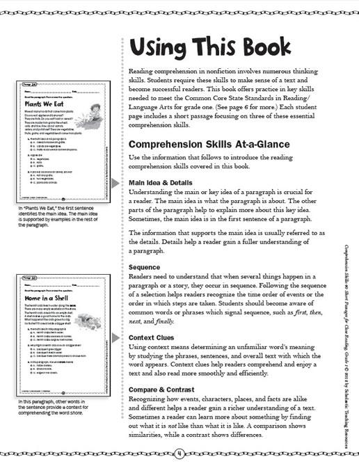 Comprehension Skills Short Passages For Close Reading Grade 1