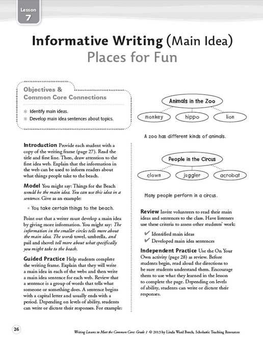 Writing Lessons to Meet the Common Core Grade 1
