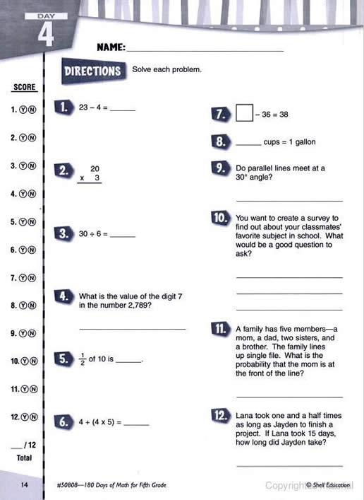 180 days of math for sixth grade pdf
