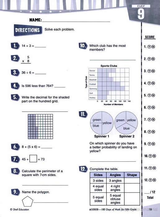 180 Days Of Math Fifth Grade