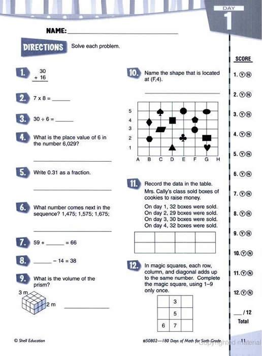180 Days Of Math Sixth Grade