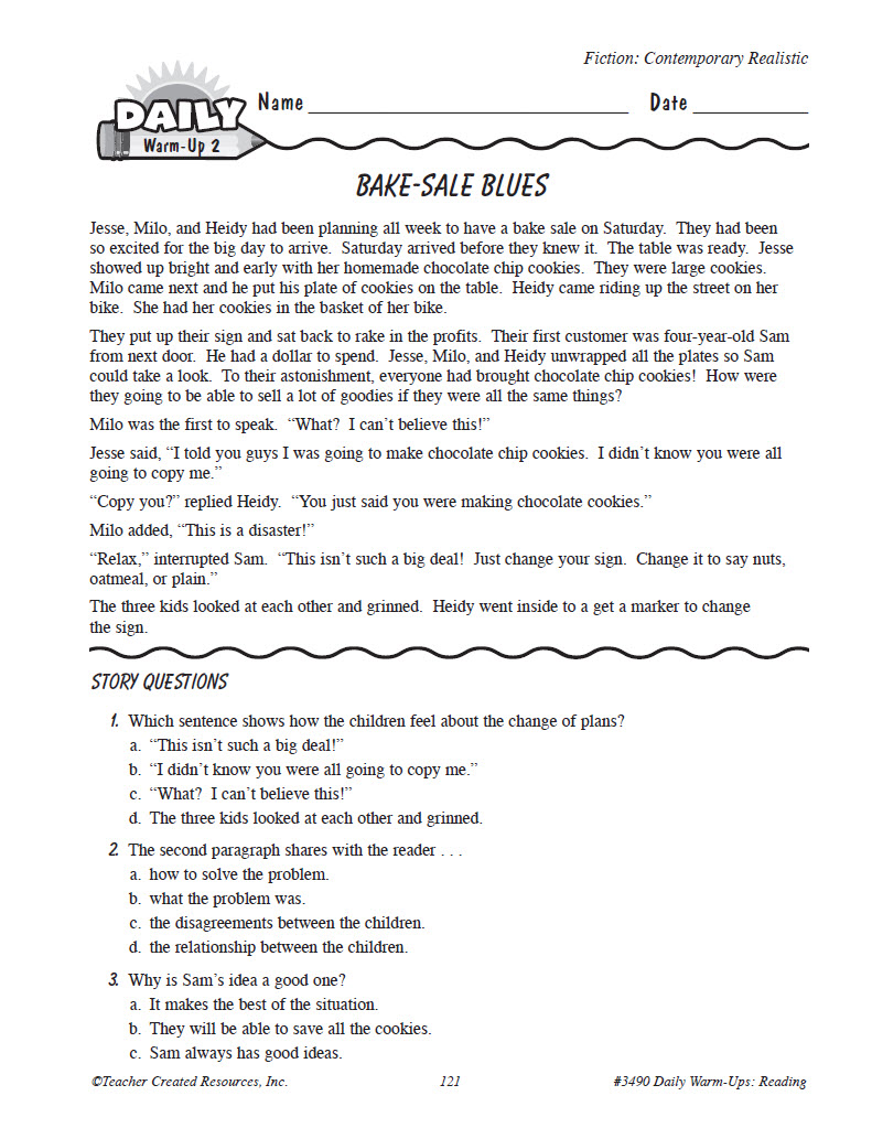 worksheet Grade 4 Literacy Worksheets worksheet reading for grade 4 yaqutlab free daily warm ups preview page 4