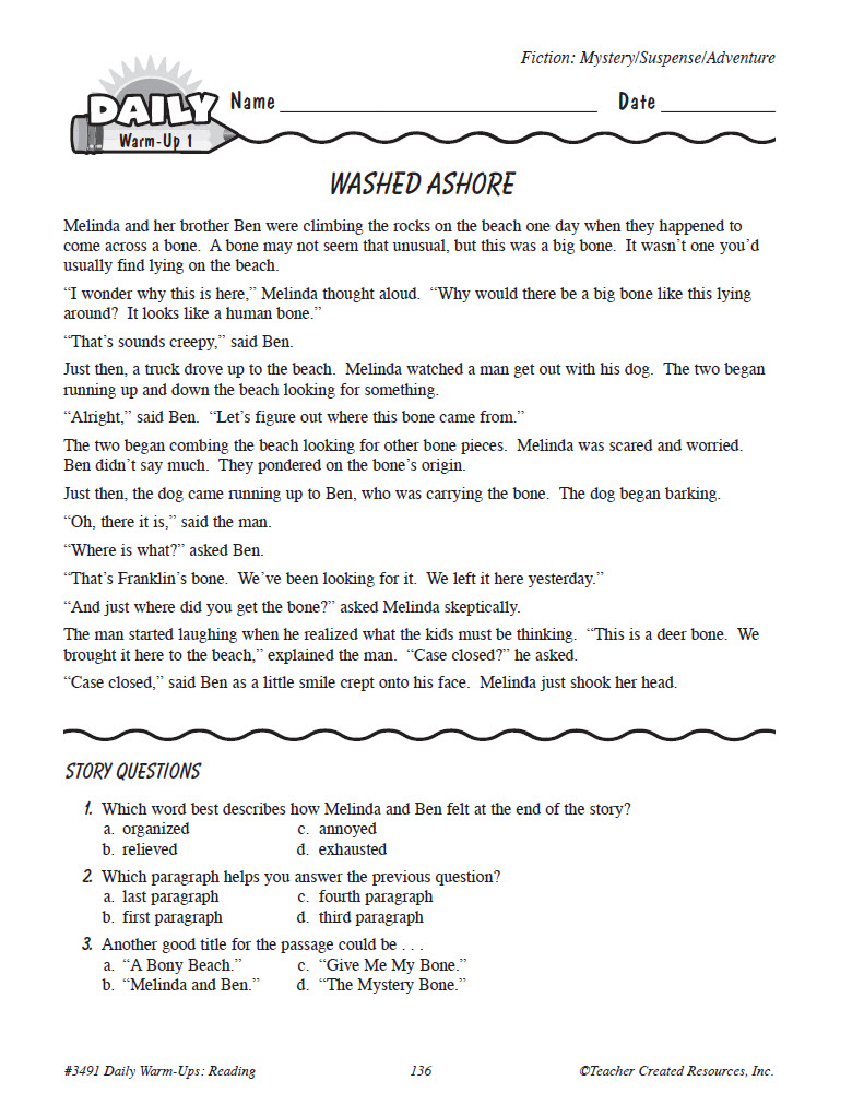 Worksheet Grade 5 Reading daily warm ups reading grade 5 preview page 4