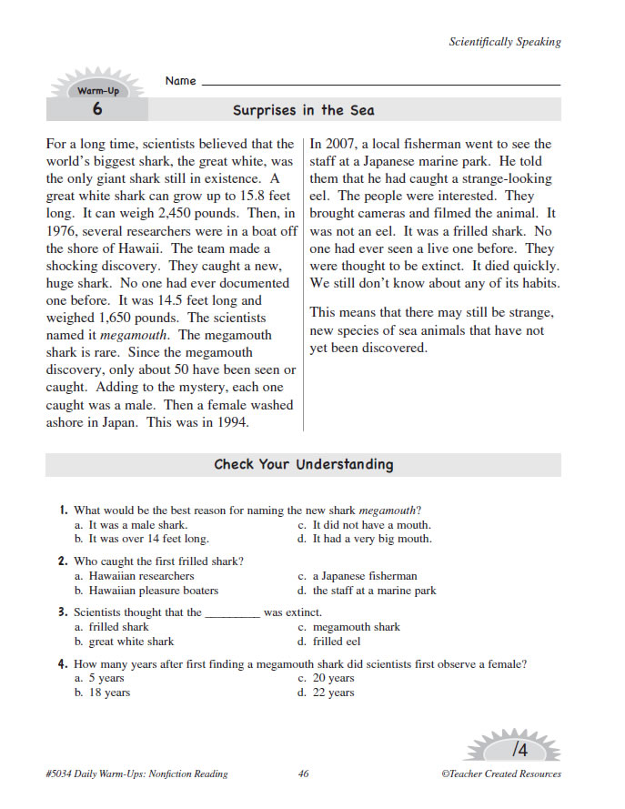 Daily Warm Ups Nonfiction Reading Grade 4 - Www imagez co