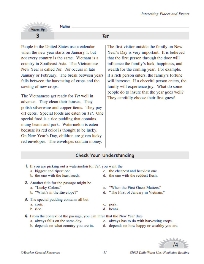 Daily warm up reading grade 5 Answer key Download